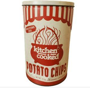 90s Kitchen Cooked Chips Tin Container Central IL
